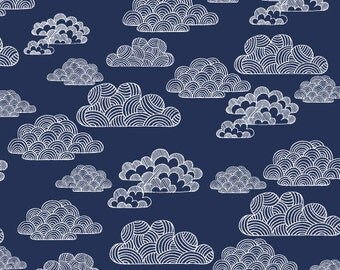 Nimbus in Navy - First Light (Canvas) - Eloise Renouf - Organic Cotton - Cloud 9 Fabrics