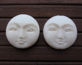 SALE TWO hand carved moon face beads, Drill top to bottom, Jewelry making supplies S6158