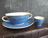 Vintage French Baby bowl and Egg Cup. Baby gift .Baby Set. Blue
