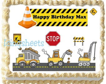 Trucks cars boys construction birthday cake topper cake icing transfer edible image sheet frosting icing sugar party