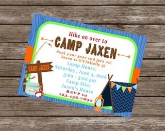 CAMPING SLEEPOVER Happy Birthday Party Invitations Set of 12 {1 Dozen} Blue Orange Green - Party Packs Available