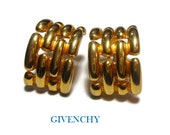 Givenchy earrings, Paris New York half hoop gold basket weave, haute couture runway statement earrings, gold plated pierced