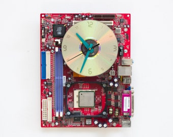 Geeky Wall clock - recycled Computer - red circuit board - ready to ship c4676