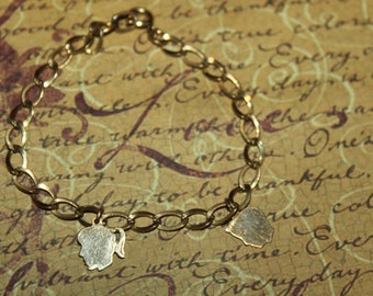 Vintage 1/20 12K Gold Filled Charm Bracelet with Boy and Girl Charms, ELCO