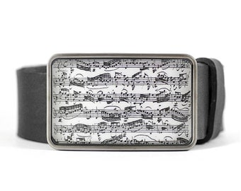 Music Belt Buckle, Bach manuscript belt buckle, Sheet Music Belt Buckle, men's gift idea, gift for him, Father's day gift, musician gift