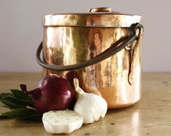 Vintage French Heavy Copper StockpotPot....3600g (8 lbs)....