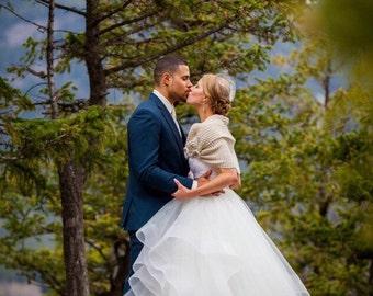 Wedding shawl, Bridal shawl, Wedding accessories, Bridal accessories, Bridesmaid gift, Knitting shawl, Wedding wrap, handmade flower, shawl