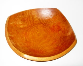 Vintage Wood Bowl Woodcroftery Large Rounded Square Bowl Made in USA