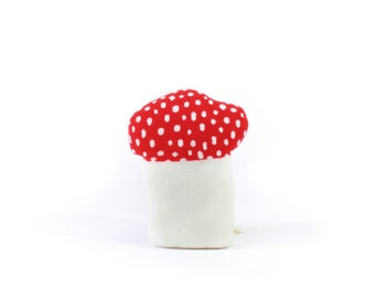 Mushroom pillow - soft knitted toadstool cushion, decorative pillow