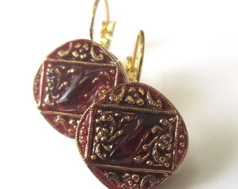RED vintage button earrings, gold lever backs