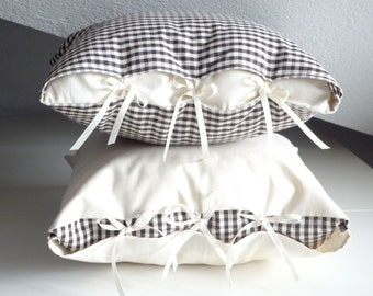 Brown gingham decorative pillow and white pillow 16x16 inches - Farmhouse Decorative Throw Cottage Chic - Rustic Minimal Pillow