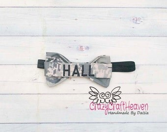 Military Headband, Name tape bow, Army Acu USAF, usmc, Baby military headband,Military hair bow, Acu, Multicam, deployment, milso