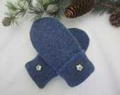 Girl's blue lambswool mittens metal flower buttons fleece lined age 5-7  OOAK RTS