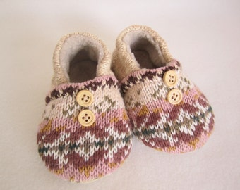 Toddler girl's cotton knit slippers rose and beige fleece-lined size 9-12 mos.  RTS
