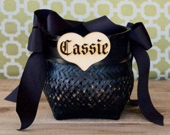 Personalized flower girl basket-Halloween-gothic-wedding-shabby/rustic black witches cauldron flower girl basket