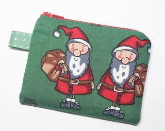 Coin purse, change purse, Christmas purse, with Santa and Rudolph print