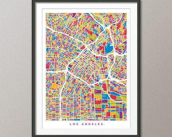 Los Angeles Map, Downtown Los Angeles California City Street Map, Art Print (2343)