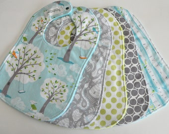 Neutral Baby Bibs, Blue-Gray, Backyard Baby Collection