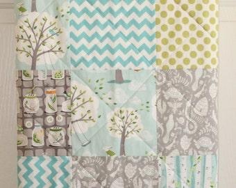 Baby Blanket, Baby Quilt, Toddler Quilt, Aqua Apple green Gray Charcoal Patchwork Quilt, Gender Neutral Baby Blanket