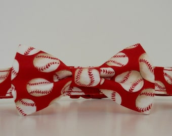 Red Baseball St. Louis Cardinals Bow Tie Dog Collar Made to Order