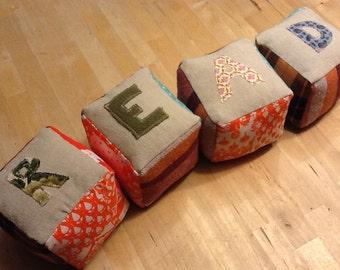 READ blocks -  four plush blocks, natural toy, stuffed blocks