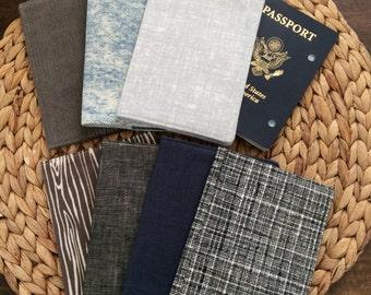 Men's Passport Cover Just for Men, Passport Holder, Corduroy Fabric - Linen, Denim, Wood -Men Travel Case