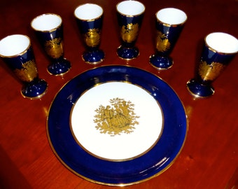 Vintage Limoges Wine goblets and matching tray
