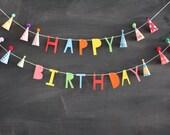 happy birthday mini party hats garland