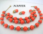 Orange Bead Necklace Bracelet Earrings - Signed Napier - Turquoise Highlights - BOOK PIECE- 60's parure