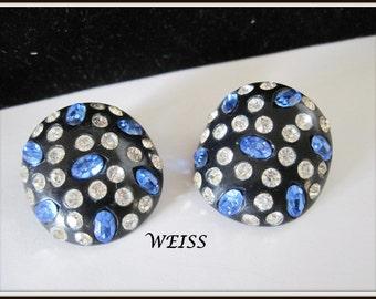Weiss Celluloid Earrings - Black Celluloid - 50's Blue Clear Rhinestones - RARE Weiss Earrings