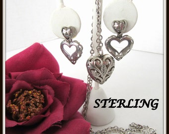 Sterling Heart Necklace Earrings -  Open Work Heart Pendant - Chain Earrings