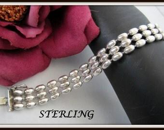Sterling Bracelet 925 Italy 3 Strand Bracelet