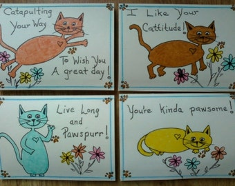 Unique Hand Made Cards Set of Four with Cute Cat Sayings