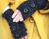 RESERVED for Amy.  Dark gray tweed  and  light gray fingerless  gloves with buttons. Two pair.
