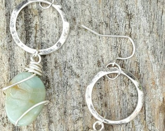 Natural stone wrap earrings