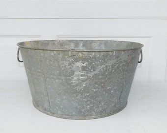 RESERVED For JOSE    Galvanized Tub Wash Tub #0 Bucket Metal Handle Galvanized Metal Mop Bucket Galvanized Pail