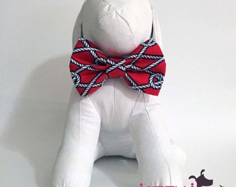 Nautical Knots Red and Navy Rope Summer Bow Tie