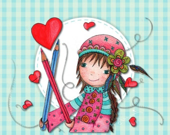 Petite Fille aux Crayons - Popeline