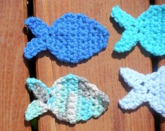 Fish Appliques, Crochet Fish, Nursery Decor, Baby Room Decor, Baby Girl, Baby Boy, Blue Fish, Pink Fish, Ocean Fish, Cute Fishies