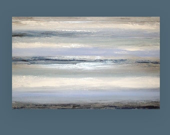 Large Painting, Abstract, Blue and Gray Original Abstract Acrylic Painting by Ora Birenbaum Titled: Cloudy Skies 5 30x48x1.5""