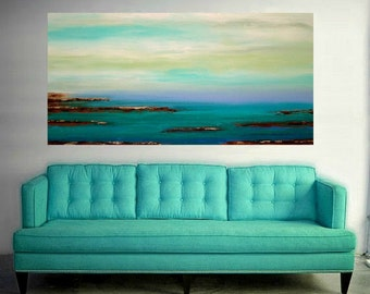"""Seascape Painting - Abstract Beach Acrylic, Ora Birenbaum, Large Abstract Painting Original on Canvas Titled: Low Tide 9 30x60x1.5"""""""