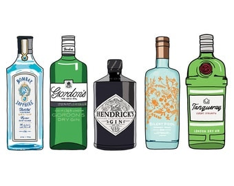 Gin Bottle Illustration Print - Art for Gin Lovers - Kitchen art - Drawing of Alcohol, Gin Drawing, gin print, hand drawn gin bottles