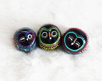 The Happy Owls Trio / Black and Neon / Colorful / Geometric / Modern Art Figurine