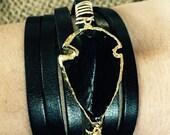 Obsidian Arrowhead leather wrap bracelet