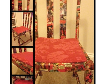 Red 2000AD Comic Decoupage Chair
