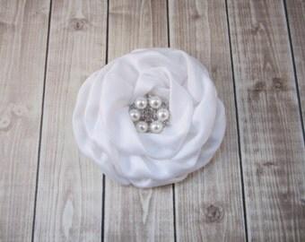 White Bridal Flower - Fascinator - Hair Flower - You choose rhinestone or pearl rhinestone accent -  Wedding Bridal Flower Girl