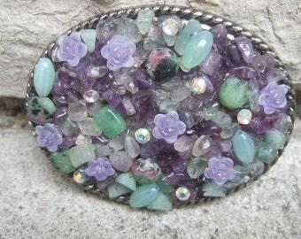Jeweled Glass Stone & Crystal Belt Buckle