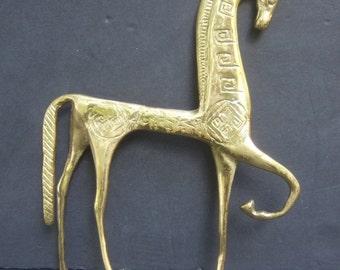 Stylized Brass Metal Horse Statue
