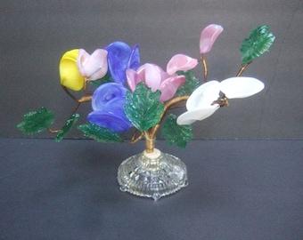Bouquet of Glass Flowers Decoration c 1960s