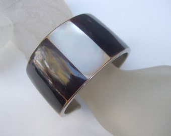 Exotic Mother of Pearl & Antler Inlay Tile Cuff Bracelet